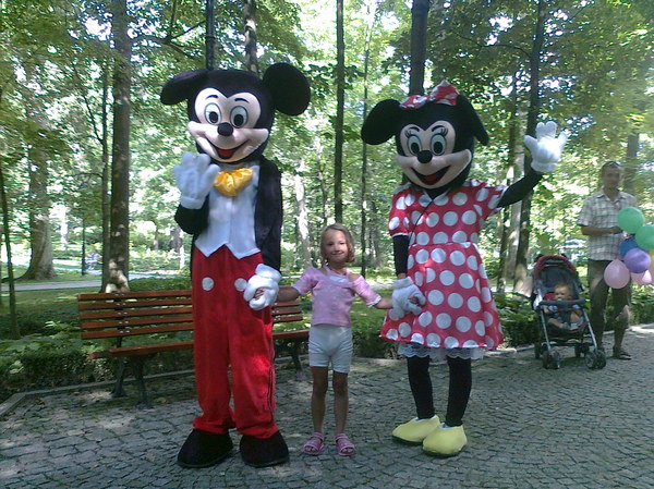 w parku zdrojowym Kudowy Zdrój córka spotkała takie oto dwie myszki