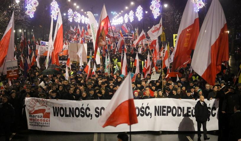 Uczestnicy Marszu Wolności, Solidarności i Niepodległości. /Paweł Supernak /PAP