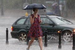Ulewa w stolicy. Połamane drzewa i strugi deszczu na ulicach