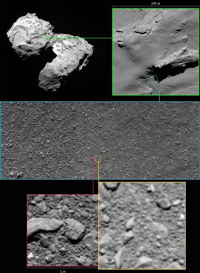 Ułożenie dwóch ostatnich zdjęć z misji Rosetta (na czerwono – zrekonstruowane zdjęcie) /materiały prasowe