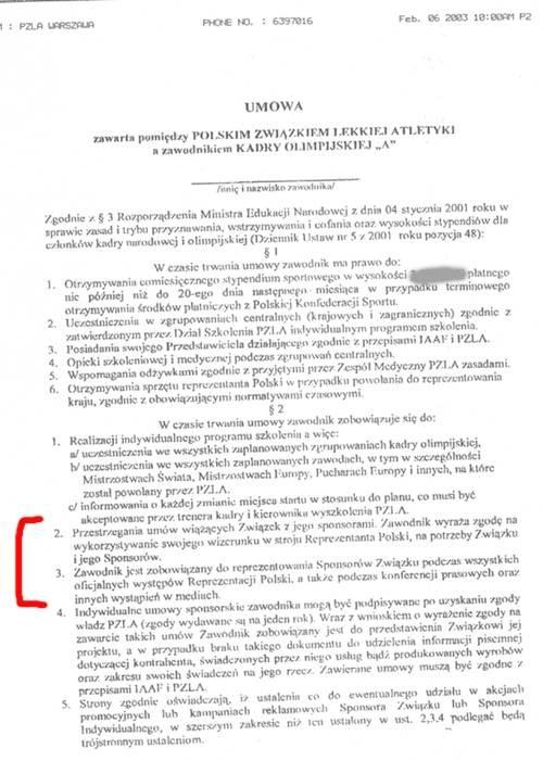 Umowa stypendialna podpisana przez PZLA (kliknij, aby powiększyć) /
