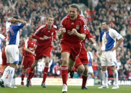 Uradowany Craig Bellamy. Liverpool-Blackburn 1:1 /AFP