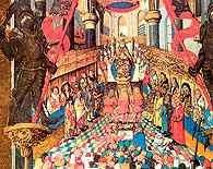 Uroczystości koronacyjne króla polskiego, miniatura w Pontyfikale Erazma Ciołka, ok. 1510 /Encyklopedia Internautica