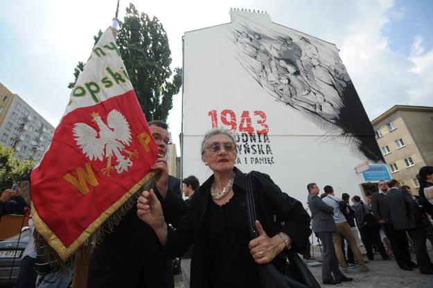 Uroczystości odsłonięcia muralu poświęconego Zbrodni Wołyńskiej /Grzegorz Jakubowski /PAP