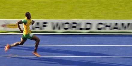 Usain Bolt na berlińskiej bieżni. /AFP