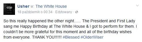 Usher dziękuje prezydenckiej parze na swoim Facebooku /&nbsp /