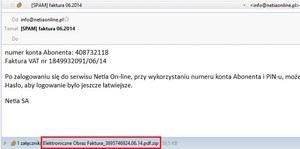 Uwaga na spam podszywający się pod Netię!