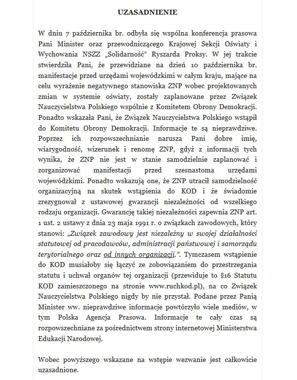 Uzasadnienie ZNP /ZNP /
