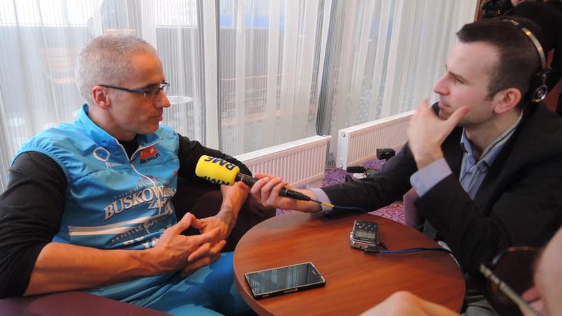 Valerjan Romanovski i reporter RMF FM Michał Dobrołowicz /RMF FM