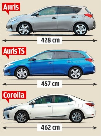W 2007 roku Toyota zmieniła nomenklaturę swoich kompaktowych aut. Od tej pory wersja hatchback jest w Europie sprzedawana jako Auris, a nazwę Corolla zarezerwowano dla odmiany sedan. W tym roku, niedługo po premierze drugiej generacji Aurisa, do oferty dołączyło także kombi, zwane Touring Sports. Podczas gdy osie Aurisów oddalone są od siebie o 260 cm, w Corolli odległość ta wynosi 270 cm. Bagażnik hatchbacka mieści 360 l, kombi – 530 l, a sedana – 452 l. Auta różnią się też gamą napędów, wyposażeniem oraz miejscem produkcji. Produkowane w Wielkiej Brytanii Aurisy oferowane są z dłuższą listą opcji i silników. Adresowana do bardziej konserwatywnych klientów Corolla powstaje w Turcji i nie występuje z 2-litrowym turbodieslem o mocy 124 KM oraz ze 136-konnym napędem hybrydowym. /Motor
