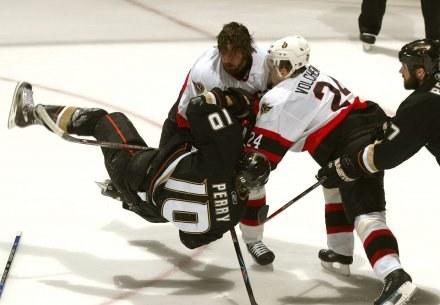 W meczu Anaheim Ducks - Ottawa Senators nie brakowało ostrych spięć /AFP