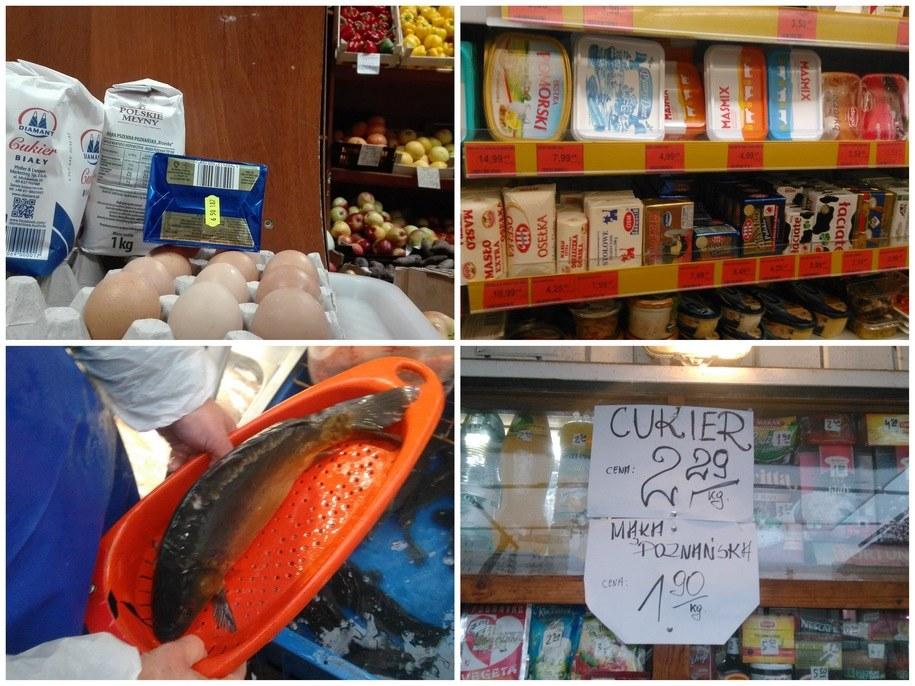 W naszym koszyku znajduje się masło, cukier, mąka, jaka i karp /Przemysław Mzyk /RMF MAXXX