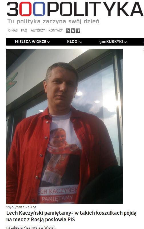 """W takich koszulkach mieli wystąpić posłowie PiS na Euro 2012... /Ze strony """"300polityka.pl"""" /INTERIA.PL"""