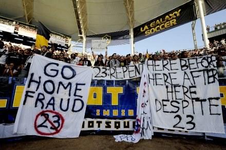 W ten sposób fani LA Galaxy wyrazli swoje zdanie o Davidzie Beckhamie/fot. Kevork Djansezian /Getty Images/Flash Press Media