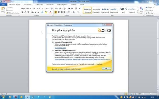 W trakcie pierwszego uruchomienia, Office 2010 pozwala na wybranie domyślnych typów plików /INTERIA.PL