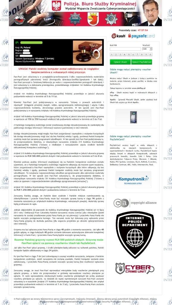 W zainfekowanym komputerze wyświetlona zostaje informacja w języku polskim, że komputer został zablokowany /materiały prasowe