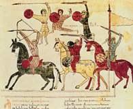 Walka z Maurami, miniatura hiszp. z czasów Cyda, XI w. /Encyklopedia Internautica