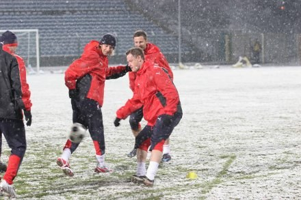 We wtorek Polacy trenowali w zimowej aurze Fot. Ryszard Kotowski /INTERIA.PL