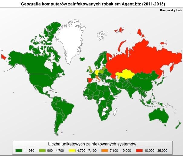 Wedługg danych Kaspersky Lab, w latach 2011 - 2013 Agent.btz został wykryty na niemal 110 tysiącach systemów w 100 krajach. /materiały prasowe