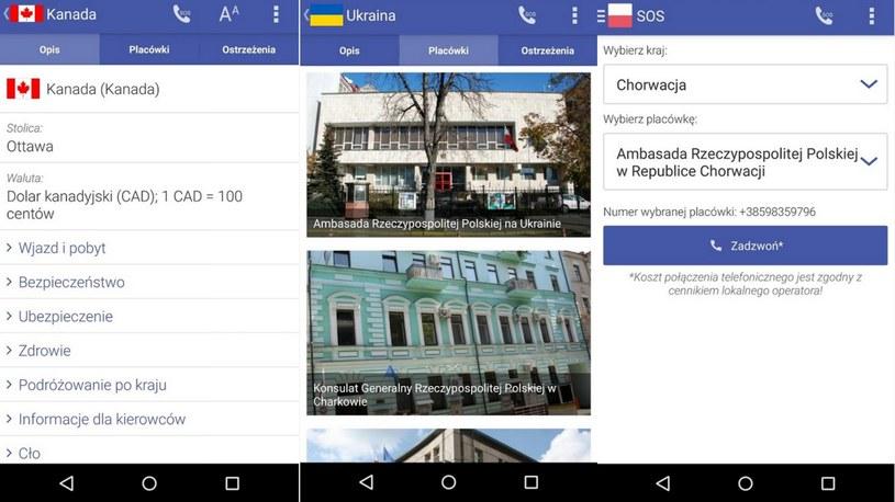 Widoki aplikacji iPolak; użytkownicy ocenili ją na 4,3 punktów na 5 możliwych /msz.gov.pl /INTERIA.PL