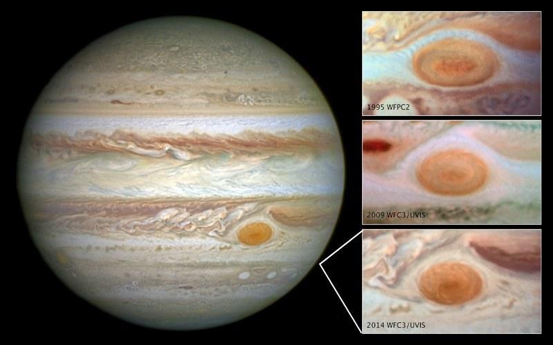 Wielka Czerwona Plama na Jowiszu staje się coraz mniejsza. /materiały prasowe