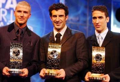 Wielka trójka. Od lewej: Beckham, Figo i Raul