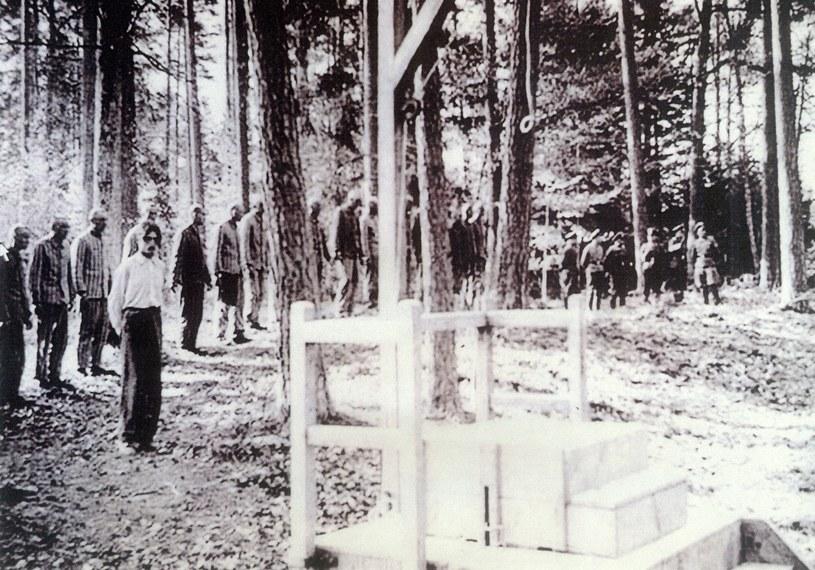 Więźniowie obozu w Buchenwaldzie oczekujący na egzekucję /Odkrywca