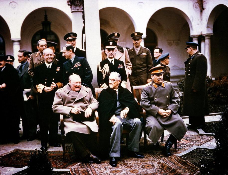 Winston Churchill, Franklin D. Roosevelt, Józef Stalin /DPA /PAP