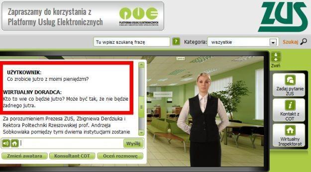 Wirtualny doradca PUE ZUS odpowiada na nasze pytanie /Internet