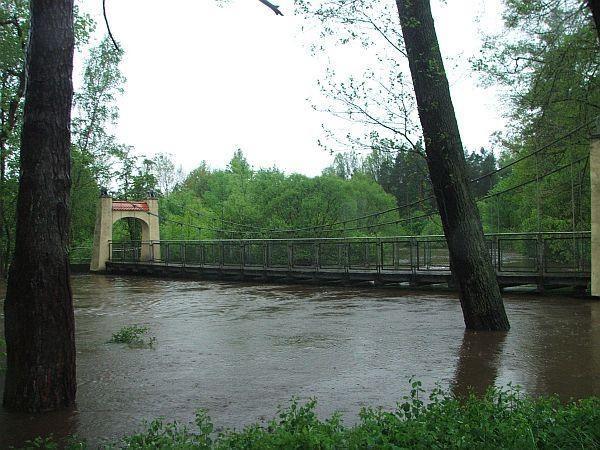 Wiszący most w Krupskim Młynie (pow. tarnogórski), fot. Anna