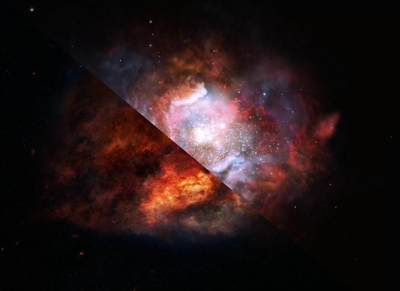 Wizja artystyczna pokazująca jak pył galaktyczny formuje gwiazdy w odległym wszechświecie /materiały prasowe