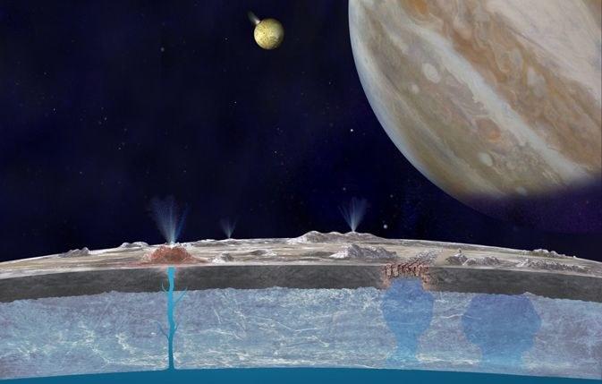 Wizja artystyczna przekroju powierzchni Europy. /NASA