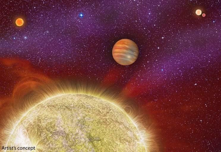 Wizja artystyczna układu 30 Ari, w centralnej części widać jedyną (znaną) egzoplanetę układu / Foto - Karen Teramura, UH IfA /Kosmonauta