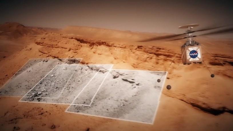 Wizja marsjańskiego helikoptera misji Mars 2020 podczas lotu /NASA