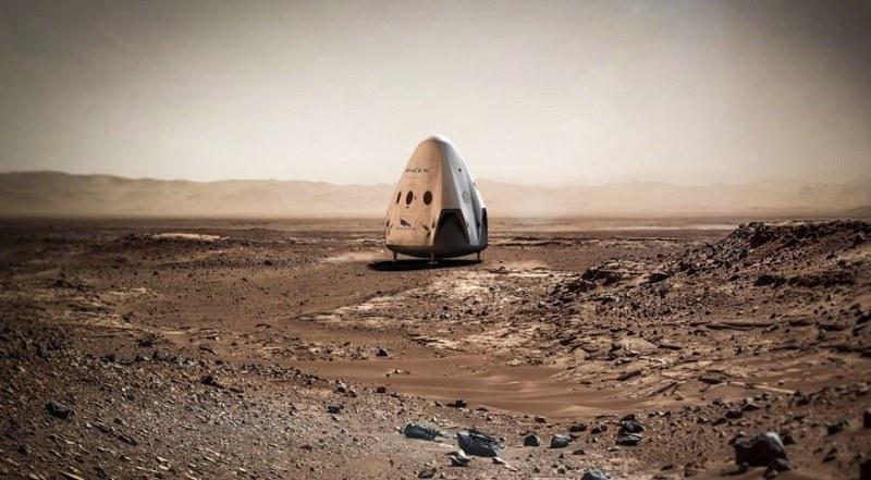 Wizualizacja kapsuły Red Dragon na powierzchni Marsa /materiały prasowe