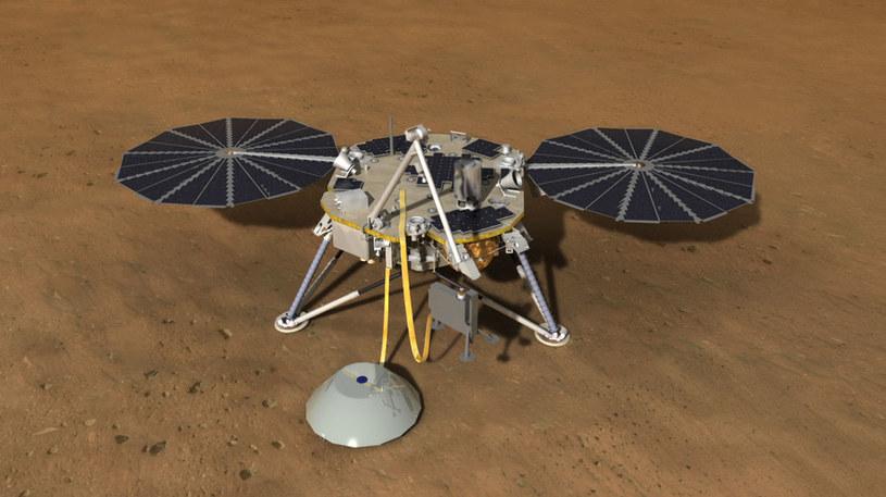 Wizualizacja lądownika InSight na powierzchni Marsa /materiały prasowe