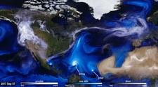 Wizualizacja ruchu aerozoli nad północnym Atlantykiem
