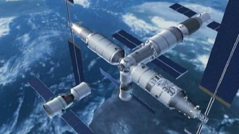 Wizualizacja stacji Tianhe-1 i cumującego pojazdu Shenzhou /materiały prasowe
