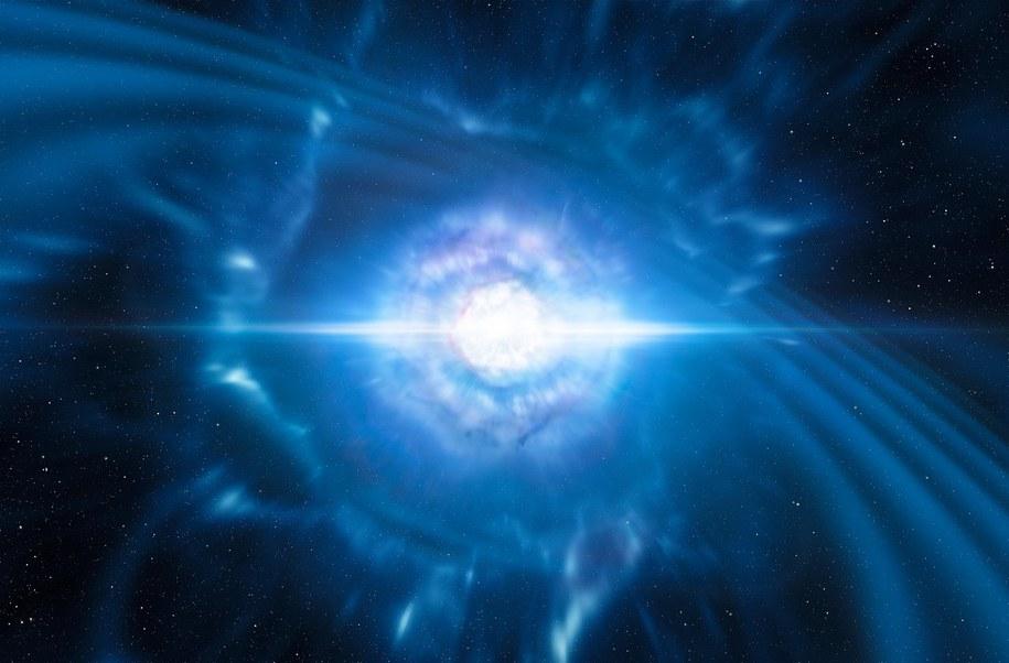 Wizualizacja zderzenia dwóch gwiazd neutronowych /ESO/L. Calçada/M. Kornmesser /Materiały prasowe