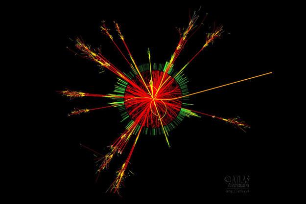 Wizualizacja zderzenia dwóch protonów w którym powstaje mikroskopijna czarna dziura. Źródło: CERN /materiały prasowe