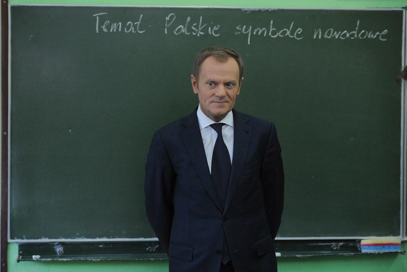 Wizyta premiera Donalda Tuska w Zespole Szkół nr 4 w Pułtusku /Jacek Turczyk /PAP