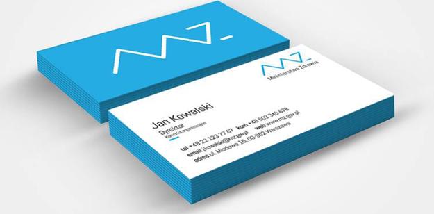 Wizytówka z nowym logo ministerstwa zdrowia, (screen z: brandingmonitor.pl) /