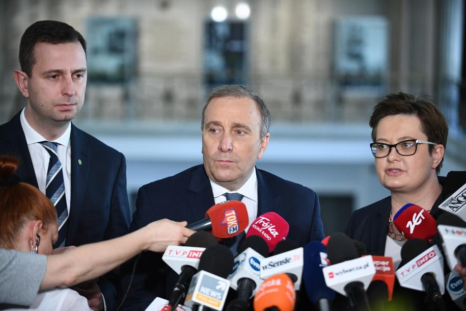 Władysław Kosiniak-Kamysz, Grzegorz Schetyna i Katarzyna Lubnauer na wspólnej konferencji /Jacek Turczyk /PAP
