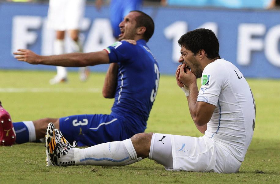 Włoch Giorgio Chiellini (po lewej) i Luis Suarez po incydencie w czasie mundialu w Brazylii /EMILIO LAVANDEIRA JR /PAP/EPA