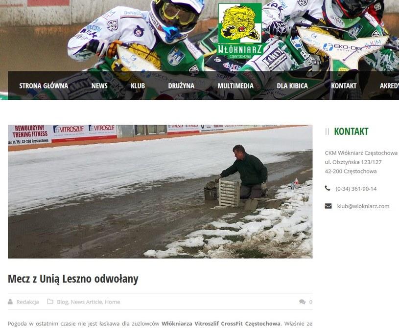 Włókniarz poinformował, że mecz z Unią Leszno został odwołany; źródło: wlokniarz.com /