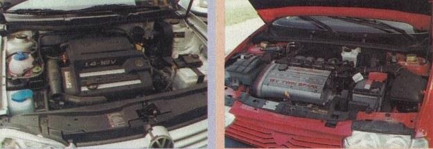 Wnętrze komory silnikowej w VW jest może bardziej eleganckie, ale silniki 1.4 Twin Spark w Alfe znacznie lepszy. /Motor