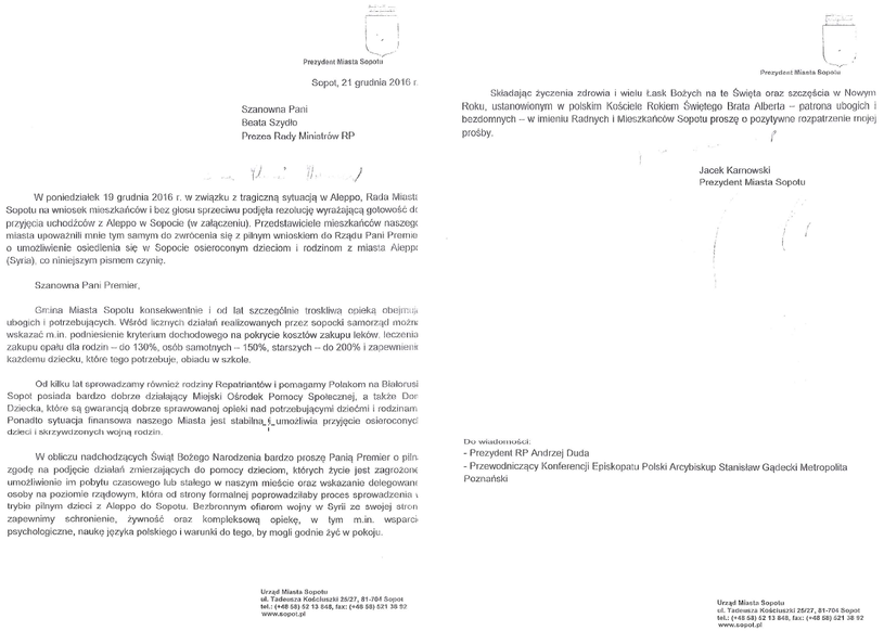 Wniosek prezydenta Sopotu Jacka Karnowskiego skierowany 21 grudnia do premier Beaty Szydło /