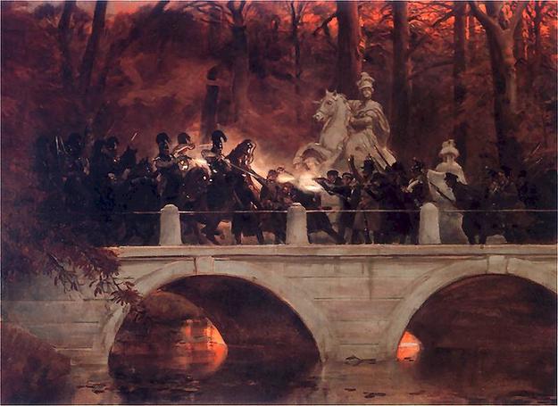 Wojciech Kossak, Starcie belwederczyków z kirasjerami rosyjskimi na moście w Łazienkach /Wikimedia
