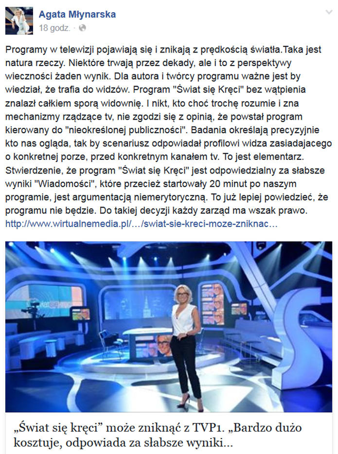 Wpis Agaty Młynarskiej na Facebooku /Facebook