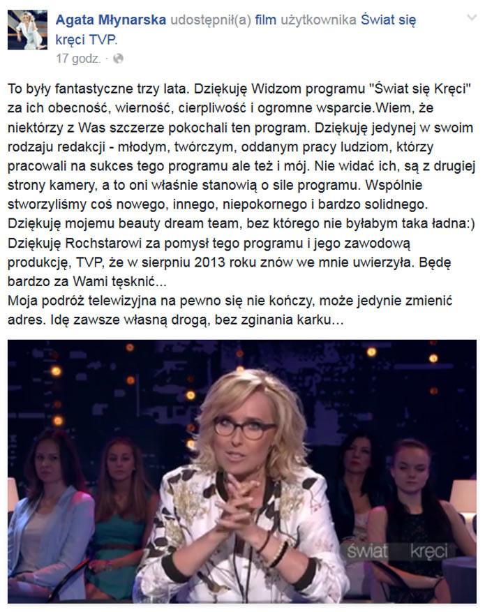 Wpis Agaty Młynarskiej na Facebooku /Agata Młynarska /Facebook